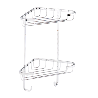 Croydex Medium Two Tier Corner Basket 320mm x 250mm x 150mm (HxWxD) QM390241