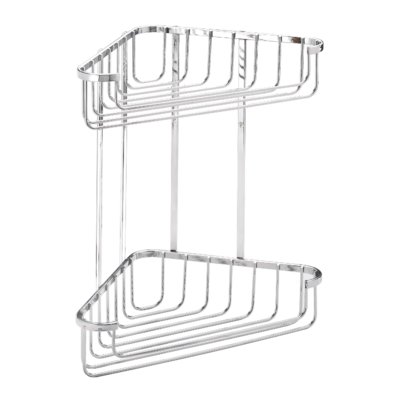 Croydex Stainless Steel Large Two Tier Corner Basket 305mm x 275mm x 165mm QM393841