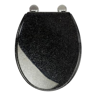 Croydex Toilet Seat Black Chrome Plated Hinges 420mm x 355mm WL101021